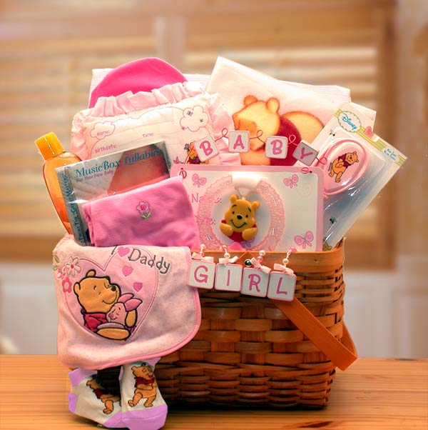 Winnie The Pooh New Baby Basket ~ Pink